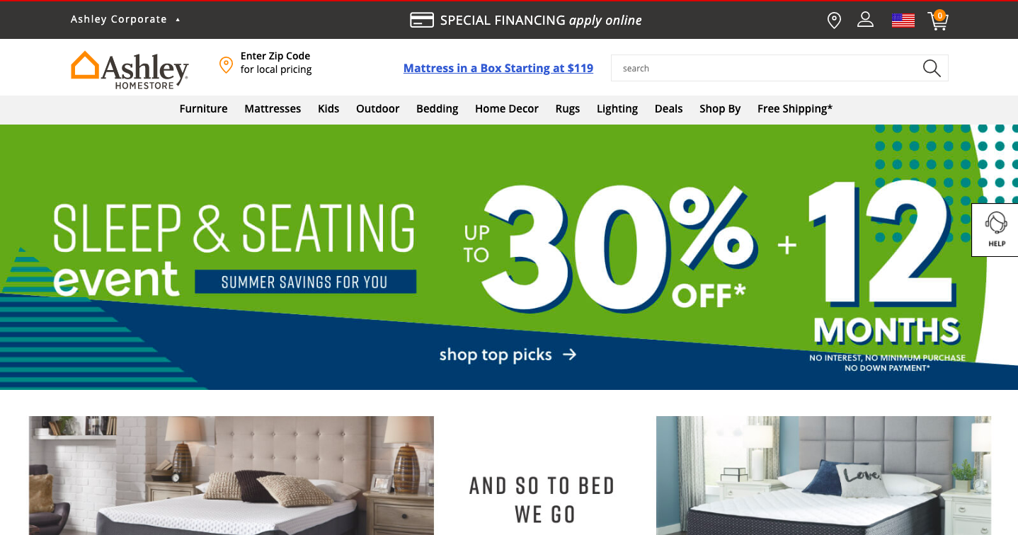 Ashley Furniture HomeStore Website