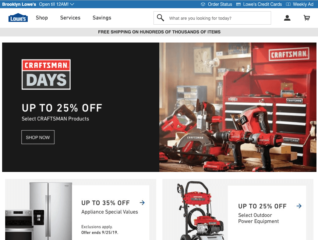 Lowes Website