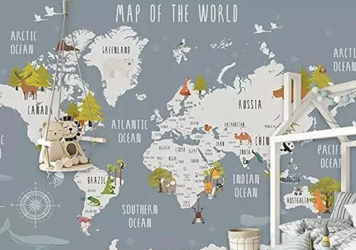 Velda World Map and Animal Kids Textile Texture Wall Mural / $77.99