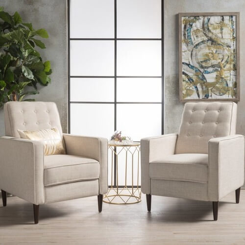 Mervynn Mid-century Fabric Recliner Club Chair (Set of 2) by Christopher Knight Home Sale: $440.99